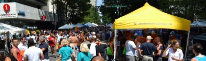 A wide, high shot of the festival, taken by the taller Gregory.