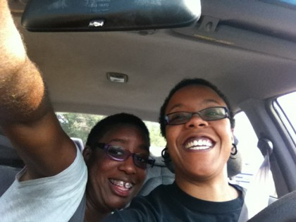 Dre and me, in my car on the way to the airport.