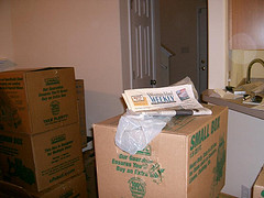Living room pile of boxes