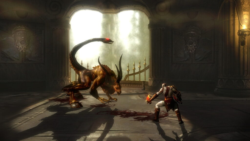 God of War vs. some kind of dragon.