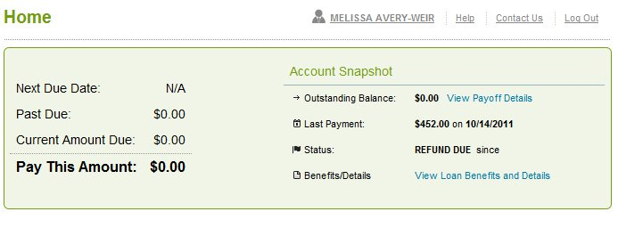 A screenshot of the loan management page showing a $0 balance.