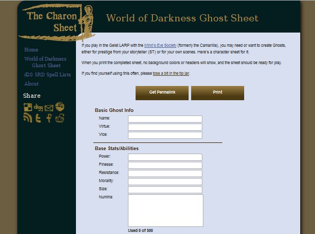 An internal page on The Charon Sheet after the 2012 redesign.