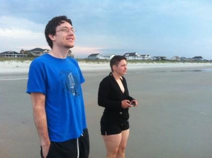 Greg and Deana on the beach at Pawleys Island